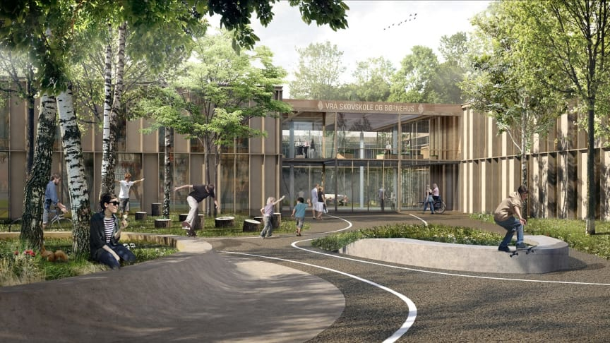 Bæredygtighed er tænkt ind i alle led af det visionære byggeri, der skal rumme Vrå Skole og Børnehus.  Visualisering: AART architects