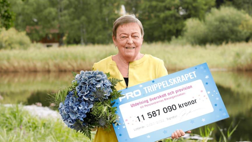 PRO:s ordförande Christina Tallberg med årets stora check. Foto: Malin Bondeson