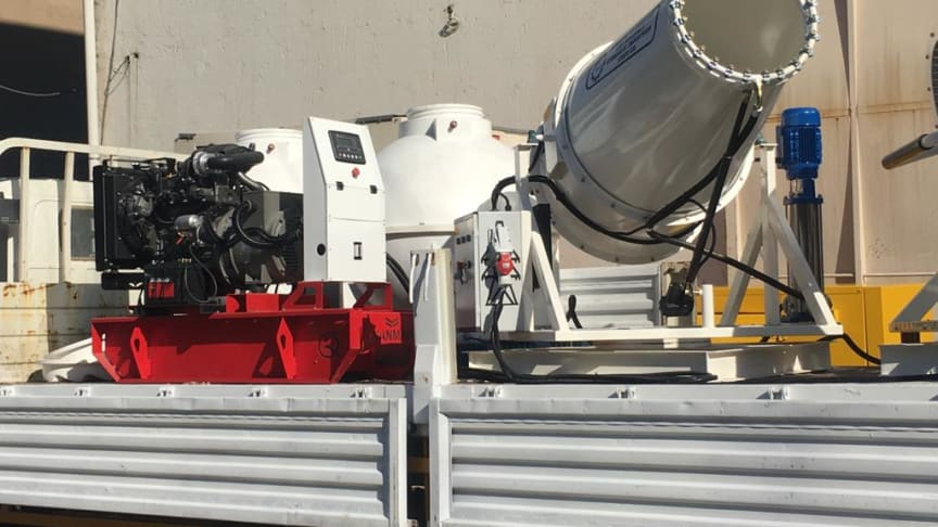 The disinfectant sprayer is powered by a Qaswaa Al-Bararry generator with a Yanmar TNV engine.