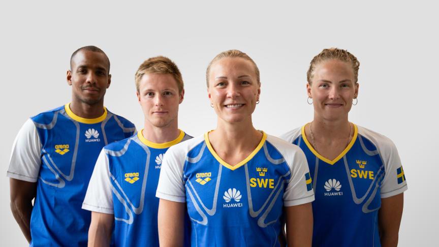 Delar av svenska simlandslaget - (från vänster) Simon Sjödin, Erik Persson, Sarah Sjöström och Michelle Coleman