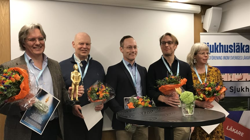 Fem av prismottagarna Tommie Olofsson, Håkan Sandler, Fredrik Tamsen, Jacob Andersson  och Anna Ybo.