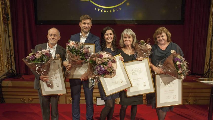 Vinnarna Bosse Lindquist, Niklas Orrenius, Negra Efendić, Karin Thunberg och Helena Bengtsson