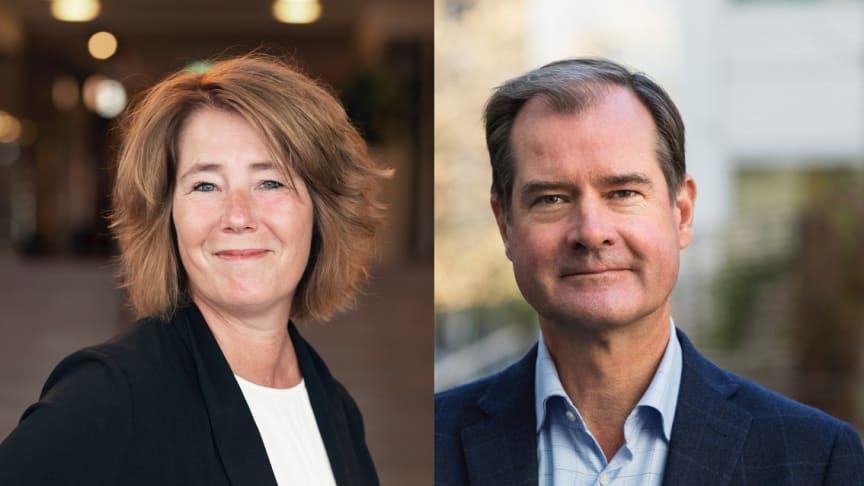 Johanna Frelin, vd för Riksbyggen och Mårten Lilja, vice vd Riksbyggen och chef för affärsområde Bostad.