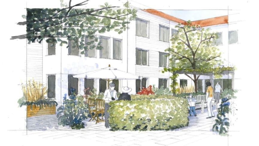Det nya vårdboendet i Säteriet, Mölnlycke, blir ett så kallat Livsstilsboende med inriktning Utevistelse och Trädgård.