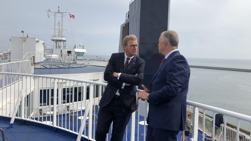Dr. Bernd Buchholz, Minister für Wirtschaft, Verkehr, Arbeit, Technologie und Tourismus des Landes Schleswig-Holstein und Søren Poulsgaard Jensen, CEO Scandlines.