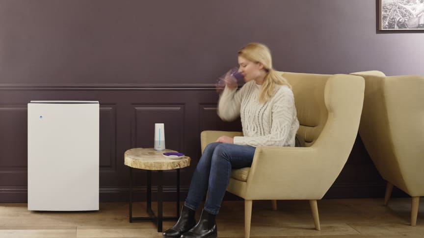 A Blueair air purifier works with Blueair's Aware air quality monitor, which constantly checks what pollutants are in the surrounding air and wirelessly transmits that information to the air cleaner so it can react.