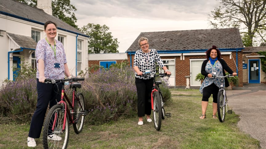 Bikes for Biggleswade: NHS key workers [l to r] Claire Tabb, Tracy Brewer-Reeves and Ria Cameron were presented with restored bikes previously abandoned and unclaimed at Thameslink stations