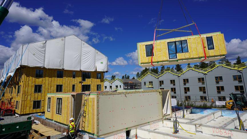Nu startar montaget av hus 4 i Nykvarnsprojektet