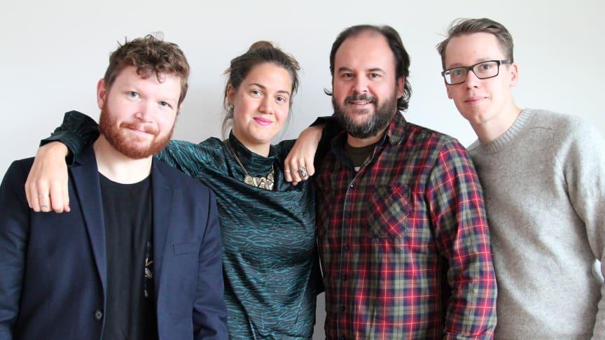 Fr. v. Thor Rutgersson, Ida Östensson (Make Equal), Marcus Pehrsson och Jonas Kofod (Studiefrämjandet). Foto: Burt von Bolton