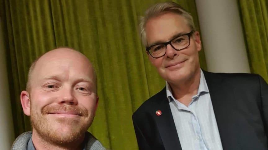 Tomas Collin (Leder i NOF) og Hans Andreas Limi (Fremskrittspartiet).