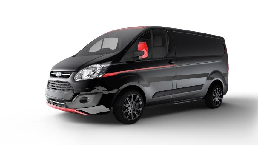 BLACK EDITION: Her er en av de nye råtøffe og eksklusive Transit Custom Black Edition
