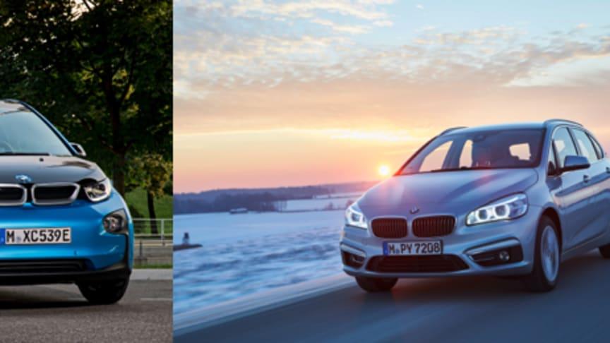 Fra venstre: BMW i3 94ah, BMW 225xe og BMW X5 xDrive40e