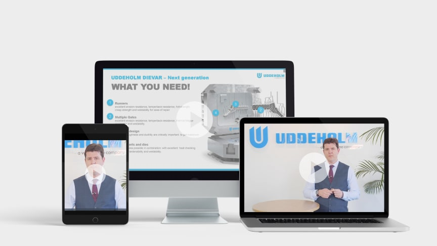 Uddeholm's new launch concept is global webinars. Images from the launch of Uddeholm Dievar.