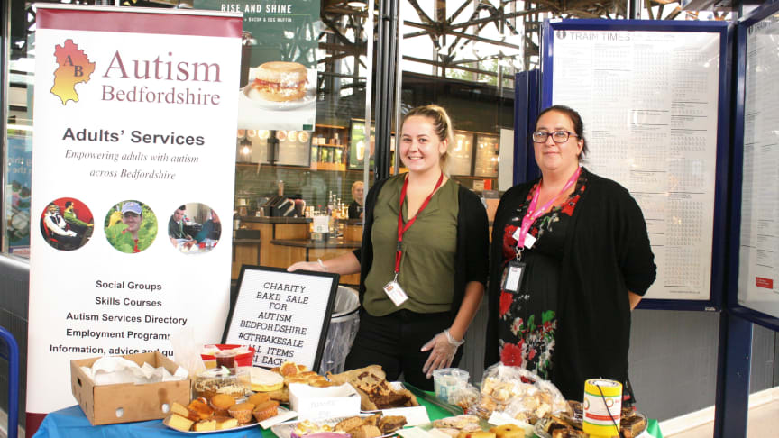 A bake sale at Bedford train station generated hundreds of pounds for Autism Bedfordshire. See below for an additional photo.
