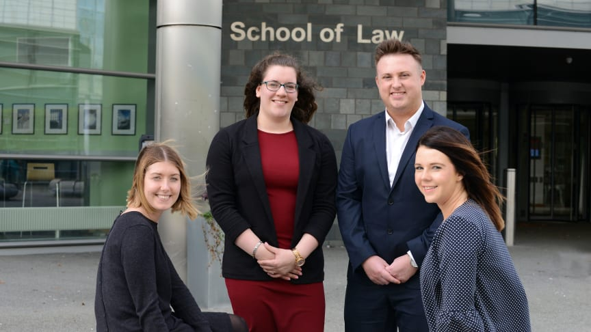 L-R Ana Speed, senior lecturer,  students Stephanie Wilson and Daniel Ruddick, and senior lecturer Kayliegh Richardson)
