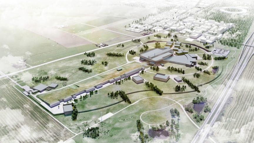 Illustrationsbild över forskningsanläggningen ESS utanför Lund