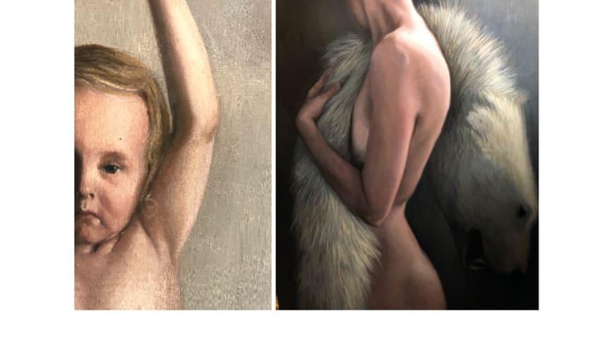 Två av Anna Fransisca Nilssons konstverk: Girl; Return to Ground Power, 2019, och It's Cold in the Arctic, 2019. OBS! Bilderna är beskurna.