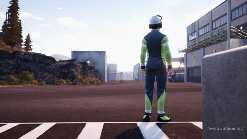 """Kan praktiske øvelser i en virtuell verden bedre sikkerheten? I """"Electri City"""" skal fagfolk få praktisk trening ved hjelp av VR-briller. ill: Trainor AS"""