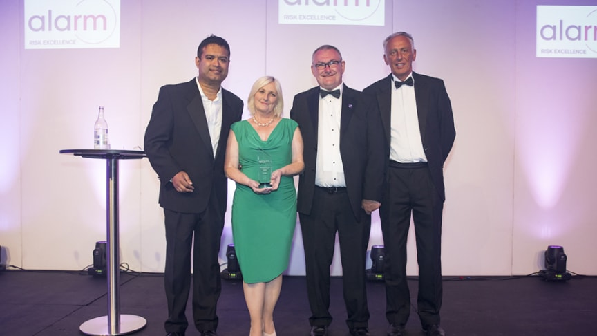 (L to R) Comedian and awards presenter Paul Sinha, ng homes Regeneration Manager Margaret Fraser, ng homes Chair John Thorburn & Rod Penman, Head of Sales & Segment Public Services from Zurich Municipal