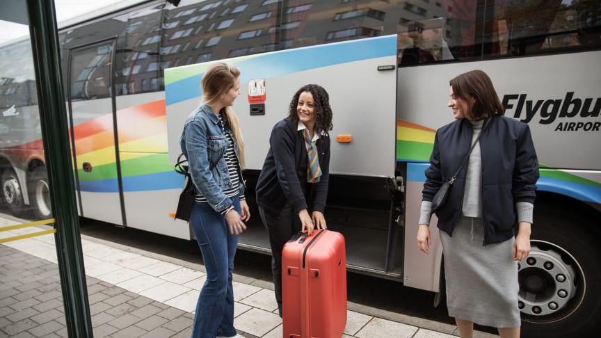 """Flygbussarna har högst betyg i hela branschen när det gäller """"vänlig och hjälpsam personal""""."""