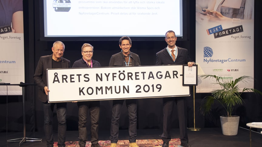 Boo Gunnarson, Visma, Mats Evergren, NyföretagarCentrum Sverige, Olof Holmgren, Tillväxtavdelningen Åre kommun och Can Savran, kommunalråd (C) i Åre. Foto: Mimmi Rito, Visma