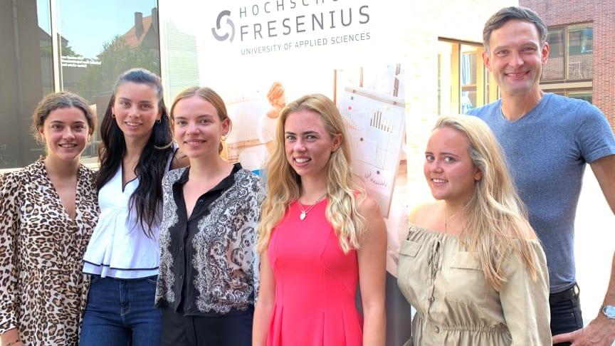 Pauline Beigel, Amelie Eulner, Rebecca Leiner, Lara Dürr, Paulina Oehrig und Studien-Dekan Prof. Dr. Andreas Beivers