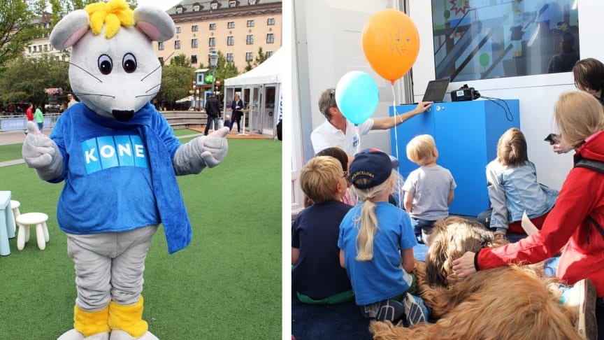 Maskoten Max och säkerhetsexperten Niels Christensen utbildar barn om säkerhet