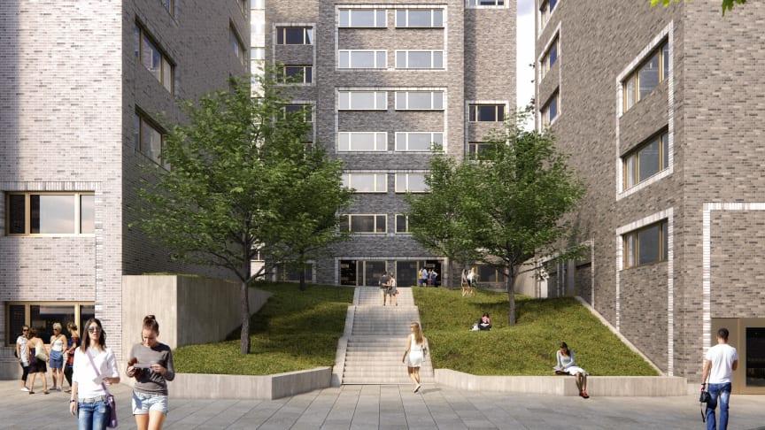 Arkitema har vana av att jobba med studentbostäder, så som med Campus Lappis(bilden) för byggherre Stockholms Studentbostäder. Bild: Stockholms Studentbostäder.