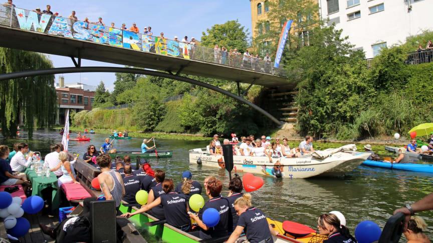 Leipziger Wasserfest: Bootsparade auf dem Karl-Heine-Kanal - Foto: Andreas Schmidt