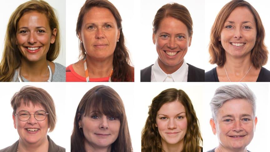 Från vänster längst upp: Josefin Jinnestrand, Karin Olholt, Karin Walden, Åsa Rosberg, Mia palm, Sara Hoff, Sara Kralmark, Åsa Svensson