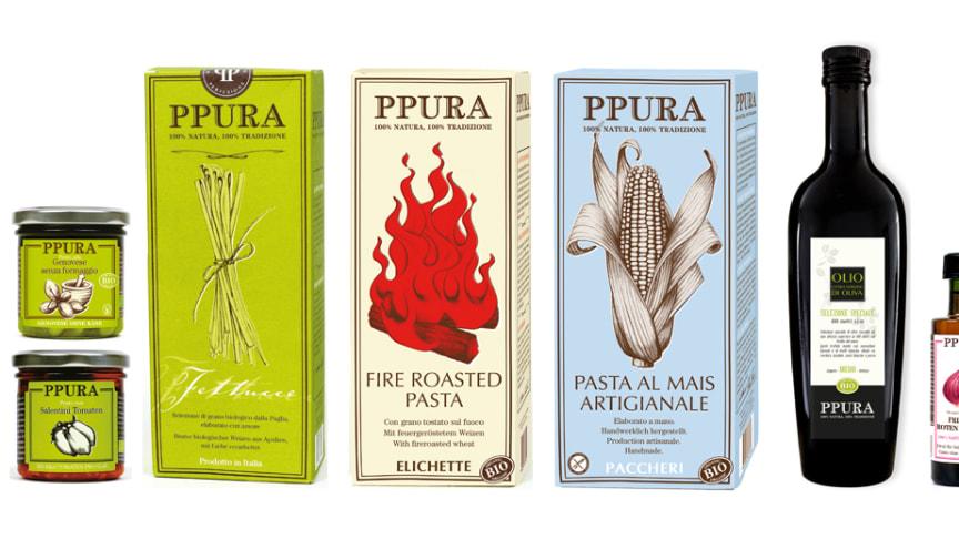 Ppuras sortiment erbjuder pesto, pasta och olivolja och alla produkter är ekologiska.