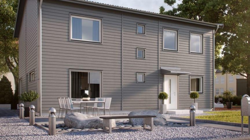 I Skölsta bygger OBOS Sverige bland annat flyttklara villor av Myresjöhus husmodell Smart 168.