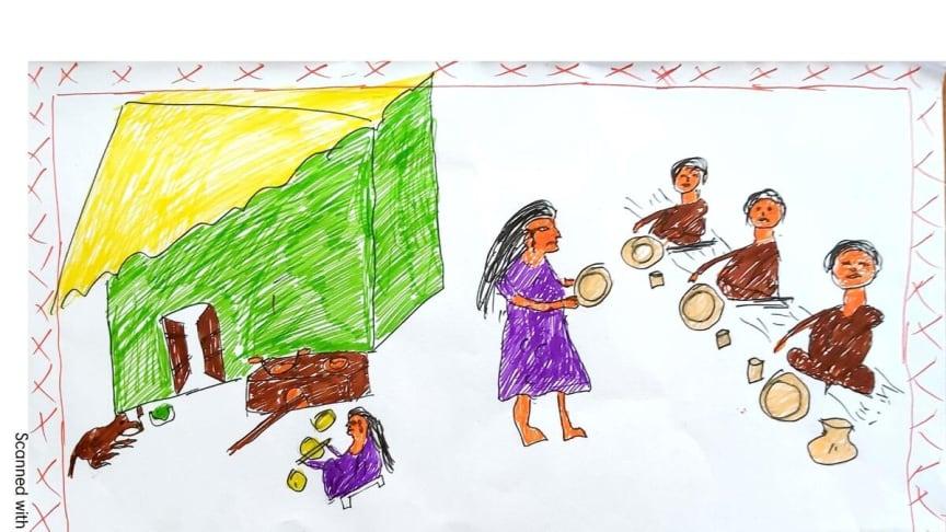 Sunita*, giftes bort när hon var 12 år. Här har hon ritat hur hennes liv ser ut nu.