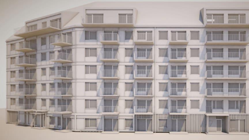 Skissbild av den kommande byggnationen. Bild: Liljewall arkitekter