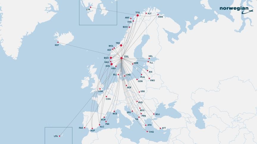 I sommer kan du reise med Norwegian til populære destinasjoner i Norge og Europa.