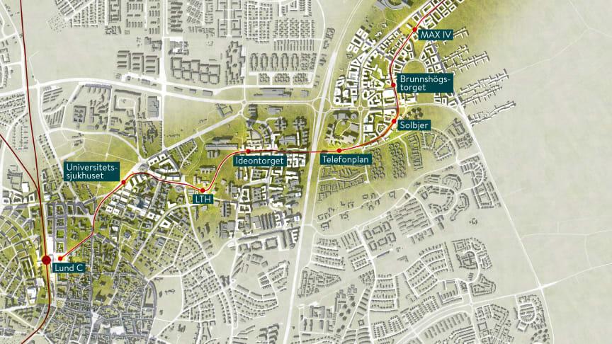 Spårvägen mellan Lund C och ESS passerar många stora och mindre arbetsplatser. Invigningsarrangörerna vill nu uppmuntra alla att vara med under invigningsdagen och visa upp sina verksamheter för spårvagnsfirare. Karta: Lunds kommun.