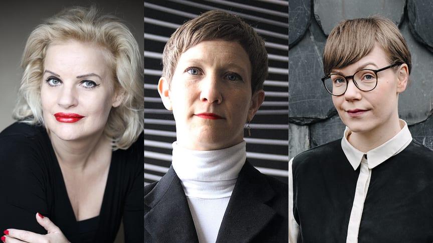 Christine Falkenland (fotograf Kristin Lidell), Jenny Högström (fotograf Annika von Hausswolff), Klara Persson (Nordstedts)