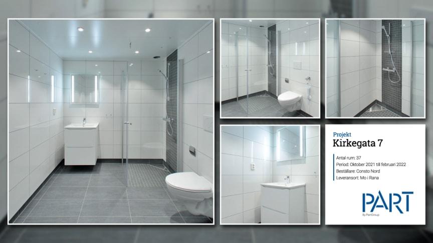 Part levererar 37 badrum till projektet Kirkegata 7 i Mo i Rana, Norge.