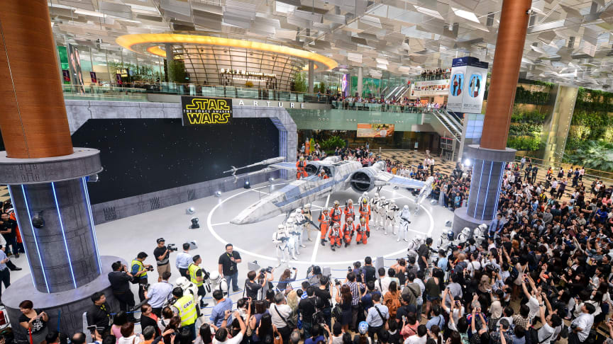 Star Wars X-wing and TIE fighter land at Singapore Changi Airport