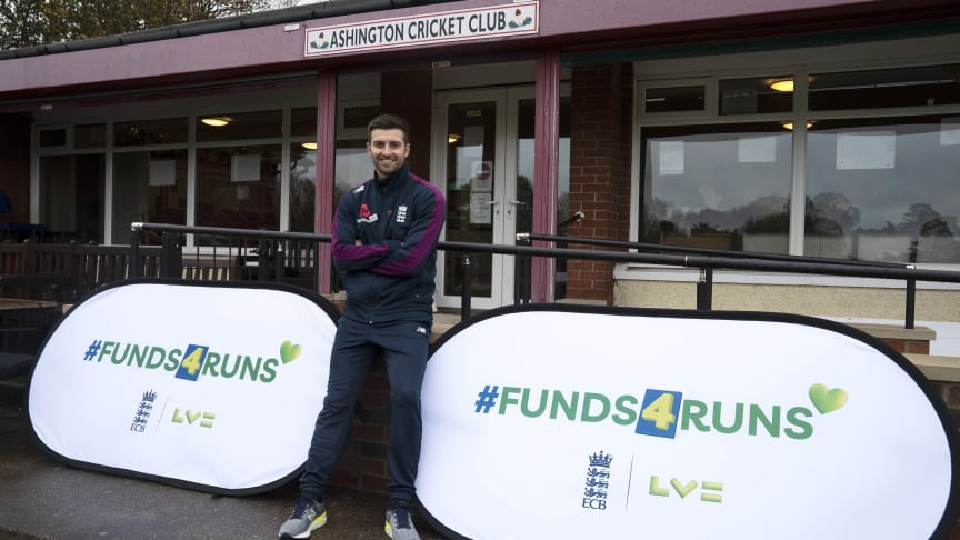 England men's paceman Mark Wood launches the #Funds4Runs initiative at his home Ashington Cricket Club
