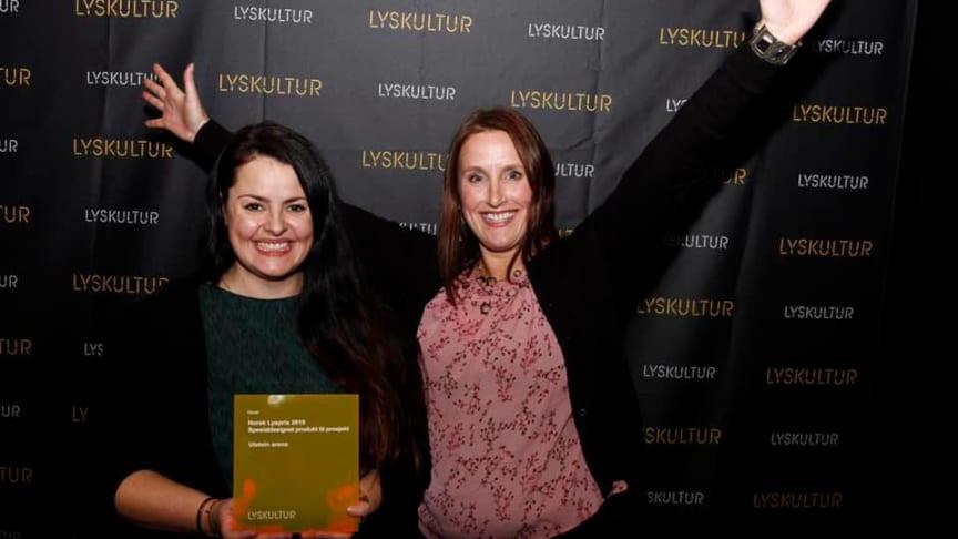 Aina Maria Dokken fra ECT og Gro Midthaug fra Luminator. Foto: Kristian Fjeldstad, Lyskultur