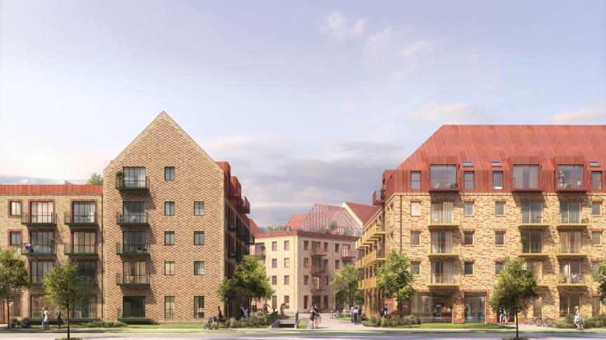 De nye boliger bliver fra 1 til 5 værelser og opføres i tre selvstændige karrebebyggelser med hver sin identitet. Visualisering: Årstiderne Arkitekter