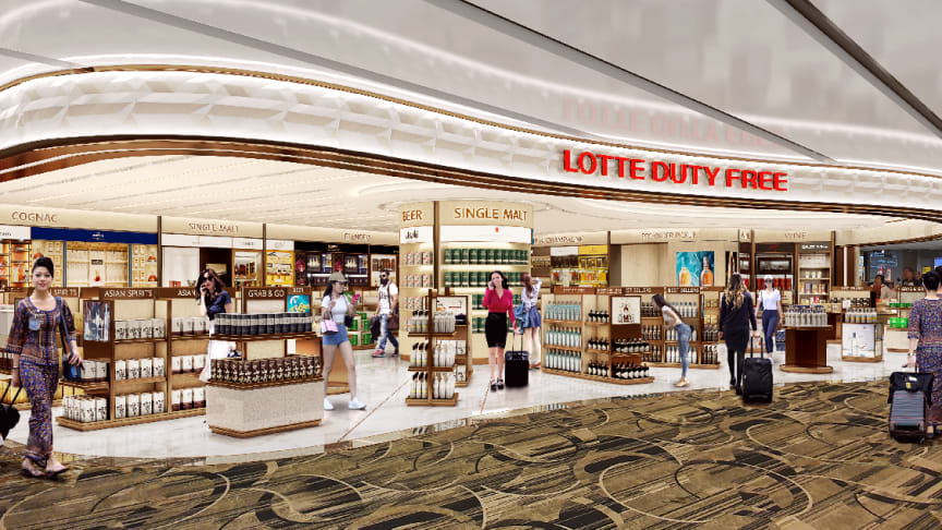 Artist's impression of a Lotte store in the Changi Airport Arrival Hall