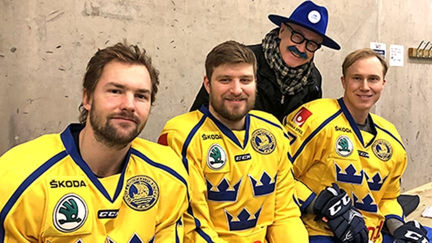 Simon Bertilsson, SM-guld med Brynäs IF, Mikael Wikstrand, Färjestads BK och VM-guld i våras, Dennis Rasmussen, SM-guld i våras med Växjö Lakers.
