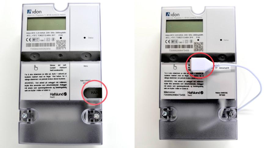 De to typene AMS-måler og HAN-kontakten