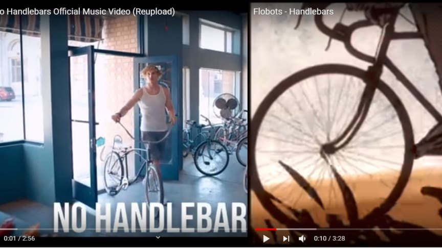 A screenshot of the two music videos, from YouTube