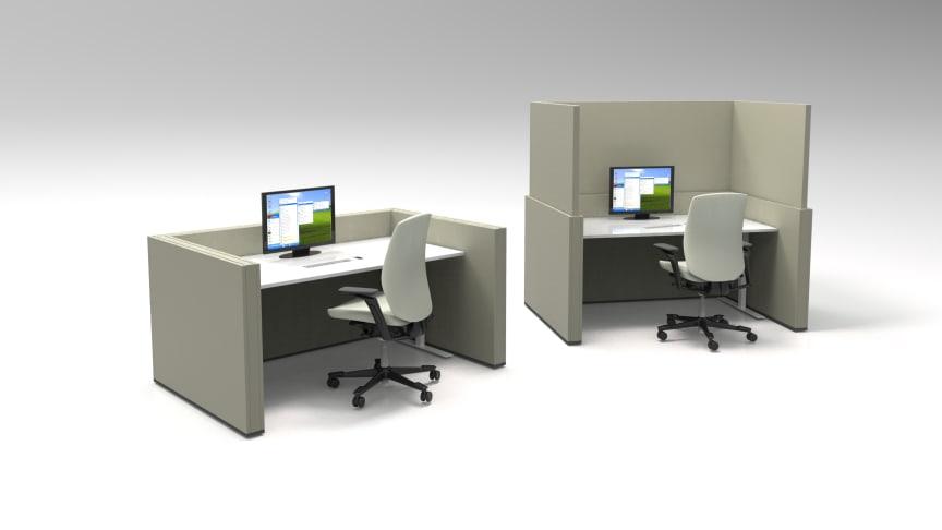 Mount Designs ljudabsorberande och flexibelt avskärmande arbetsplatsbås HILO FLEXWALL.