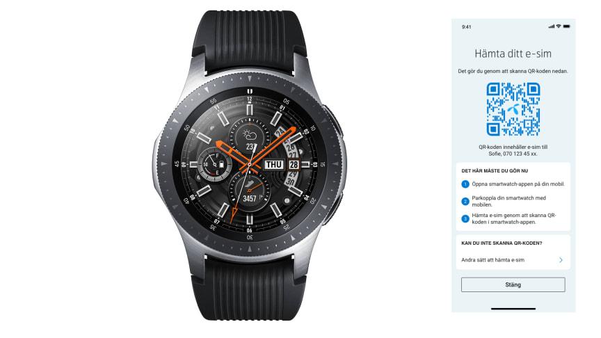e-sim till Samsung Galaxy Watch hämtas med QR-kod