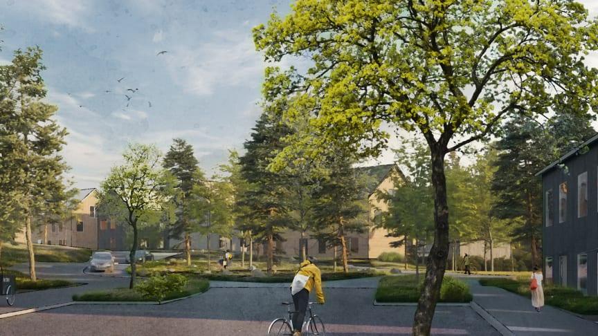 Vy över gaturum i Fredriksdal där naturen har en viktig plats. Illustration: Archus och AL Studio