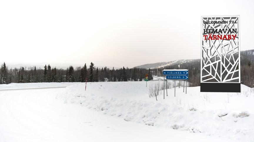 Nya skyltar visar vägen till destinationen Hemavan Tärnaby